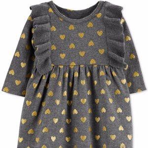 Gray Heart Sweater Dress-NWT-12 mths